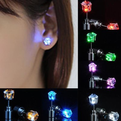 Glowing Ear Studs, One Pair, Light up Ear Pendant,  Stainless Multi-color LED Ear Studs