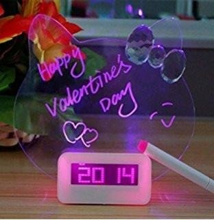 Cute Kitty Shape LED Message Board and Smart Alarm Clock