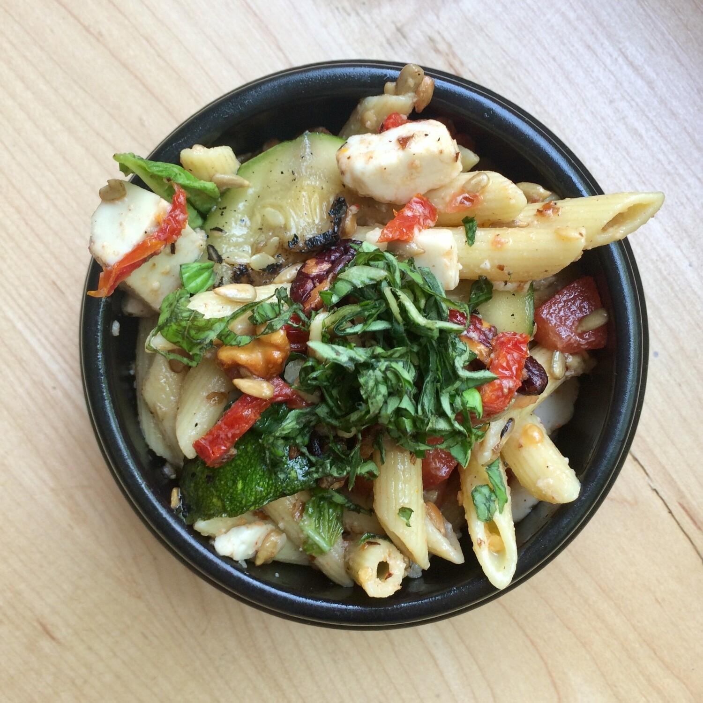 Caprese Pasta Salad for 6: Cashew Mozzarella, Tomato, Basil, Zucchini, Walnuts