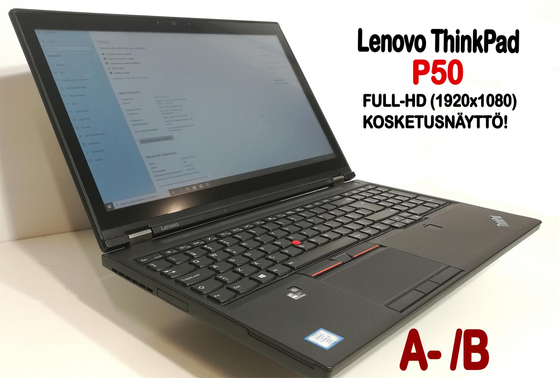 """Lenovo P50 Core i7,  Nvidia Quadro M2000M näytönohjaimella ja 15,6"""" FullHD-kosketusnäytöllä! AMMATTILAISELLE!   (Grade A- /B )"""
