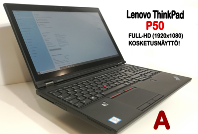 """Lenovo P50 Core i7,  Nvidia Quadro M2000M näytönohjaimella ja 15,6"""" FullHD-kosketusnäytöllä! AMMATTILAISELLE! Telakka mukana!"""