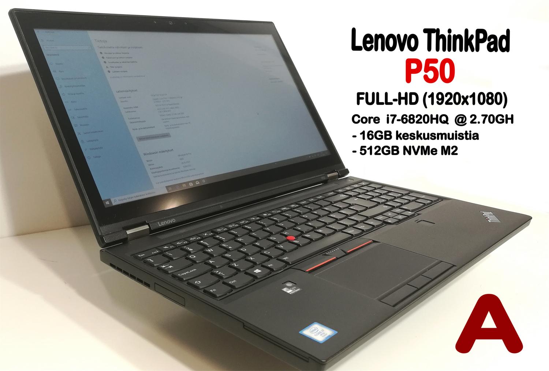"""Lenovo P50 Core i7,  Nvidia Quadro M2000M näytönohjaimella ja 15,6"""" FHD-IPS-näytöllä! AMMATTILAISELLE!   (Grade A )"""