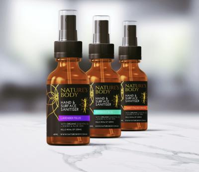 Hand Sanitiser - Kills 99.9% Germs - Added Organic Essential Oils, Jojoba Oil & Aloe Vera Extract - 1 X Bottle - (60ml)