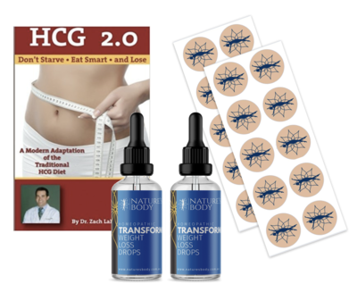 Transform HCG Weight Loss Drops & Patches - Supercharge Combo (60 Days) + FREE BOOK