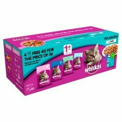 WHISKAS 1+ Cat Pouches Fish Selection in Jelly 40 for 36 Mega Pack, 100g