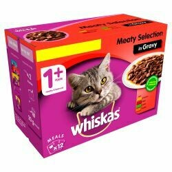 WHISKAS 1+ Cat Pouches Meaty Selection in Gravy 12x100g pk 100g
