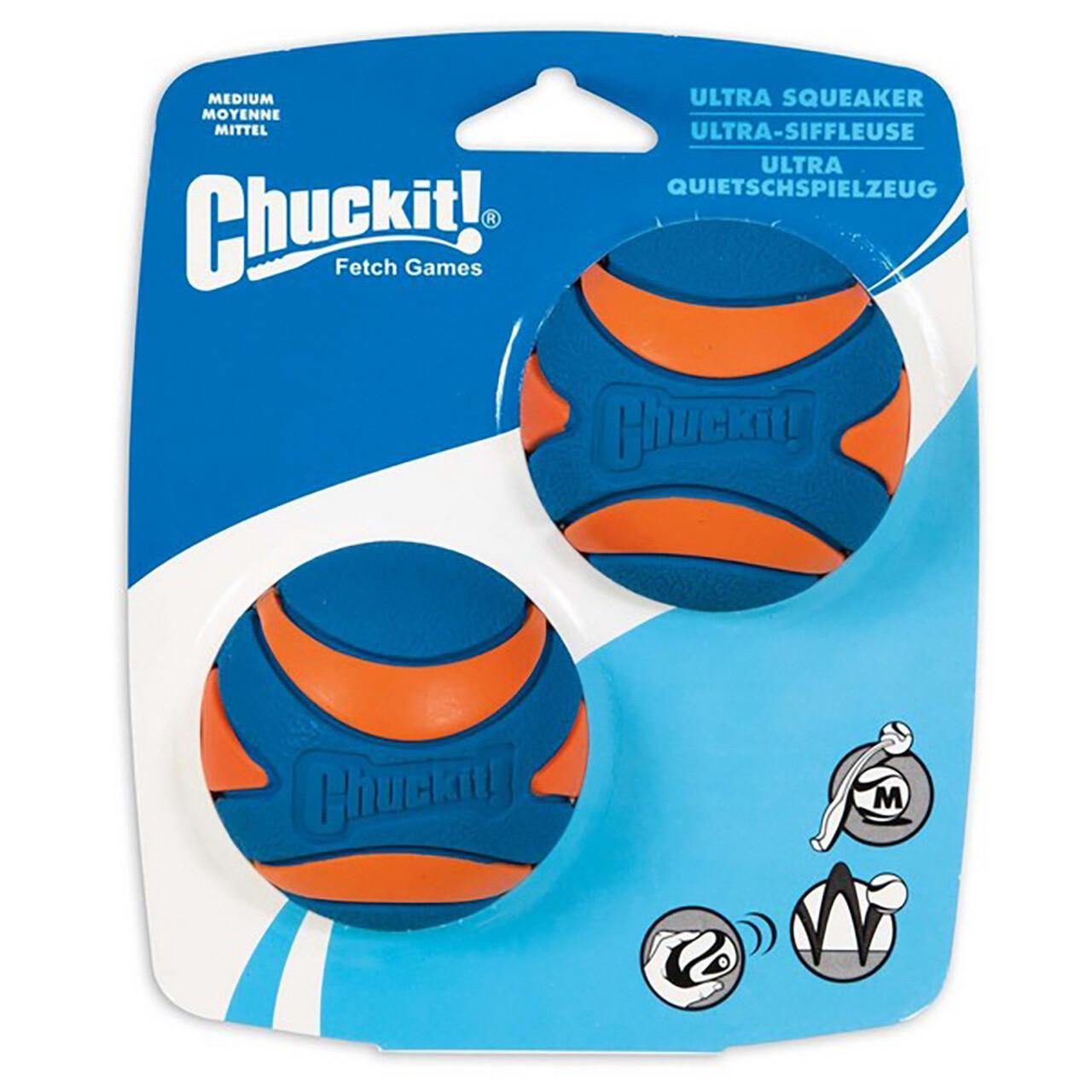 Chuckit Ultra Squeaker Ball Medium (2Pk) 6.5cm