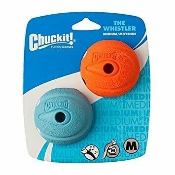 Chuckit The Whistler Ball 2 Pack Medium 6.5cm