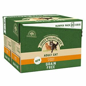 James Wellbeloved Grain Free Adult Wet Cat Food Turkey In Gravy 24 x 85g