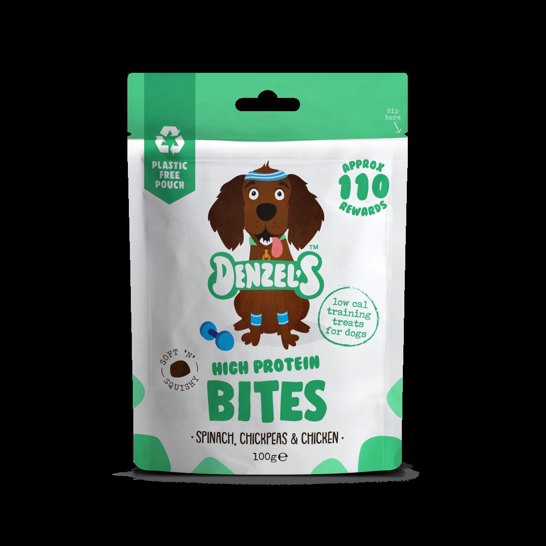Denzel's High Protein Bites For Dogs Spinach Chickpeas & Chicken 100g