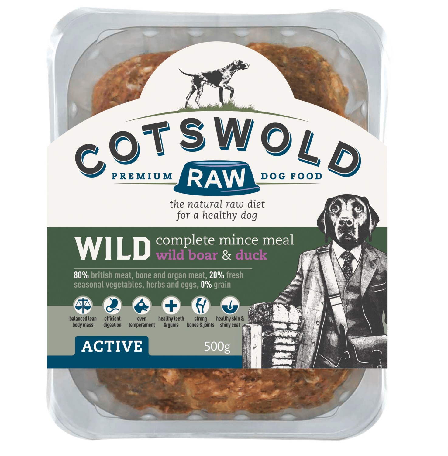 Cotswold RAW Active wild boar & duck 500g