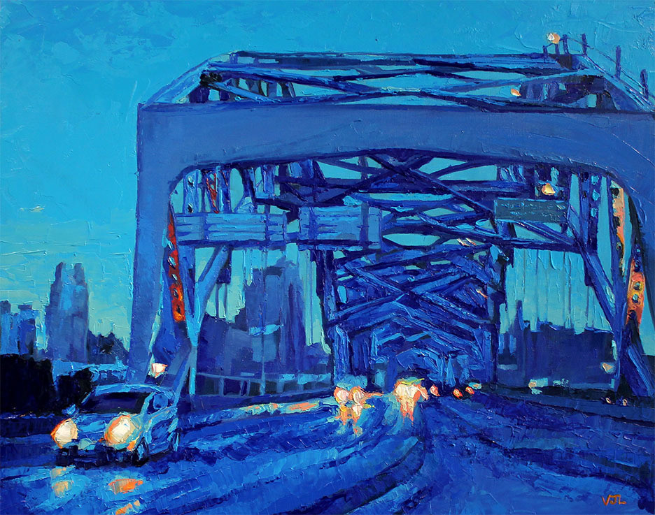 Blue Broadway Bridge