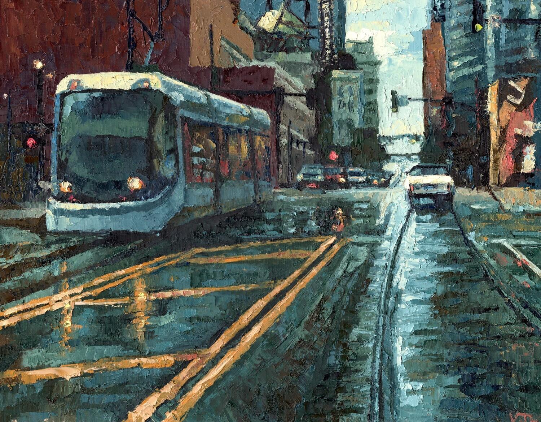 Rainy Day Streetcar on Main Street