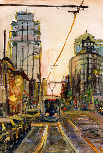 Sunset Streetcar in Watercolor