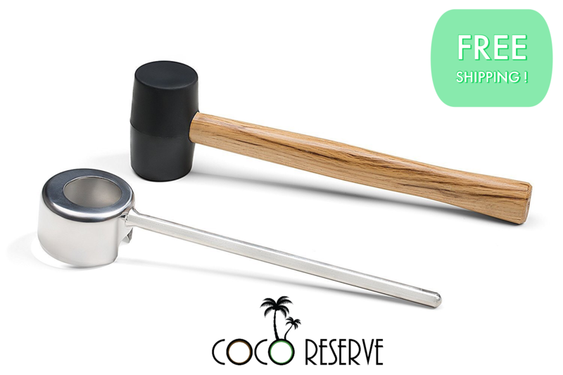 Coconut Opening Tool Kit - Wide Mouth - Mallet included