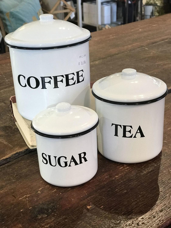 Coffee Sugar Tea Canister Set 1912 Emporium Wayne Ne
