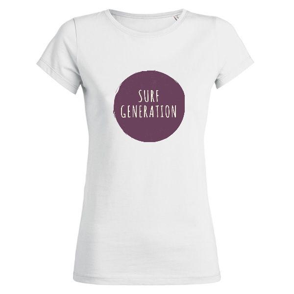 "Femme - Tee-Shirt ""SURF GENERATION"" (Imprimé / Recto)"