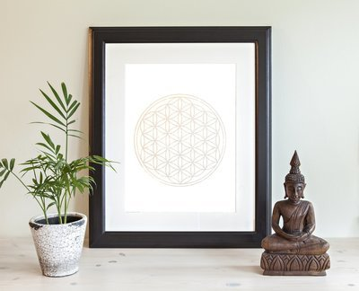 The Flower of Life Woodblock Print- Silver