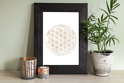The Flower of Life Woodblock Print- Gold