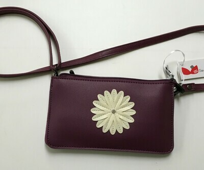 Traditional Daisy.  Save the Girls Touch Screen Purse.  Crossbody.  Available in Grape or Navy