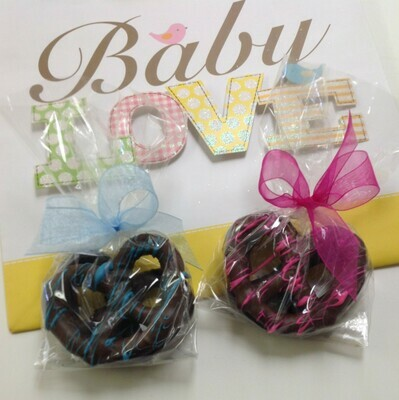 Baby Love!  2 - 3 Ring Pretzels bagged and bowed.  Strung with Pink, Blue or Yellow.  Delicious and Adorable.