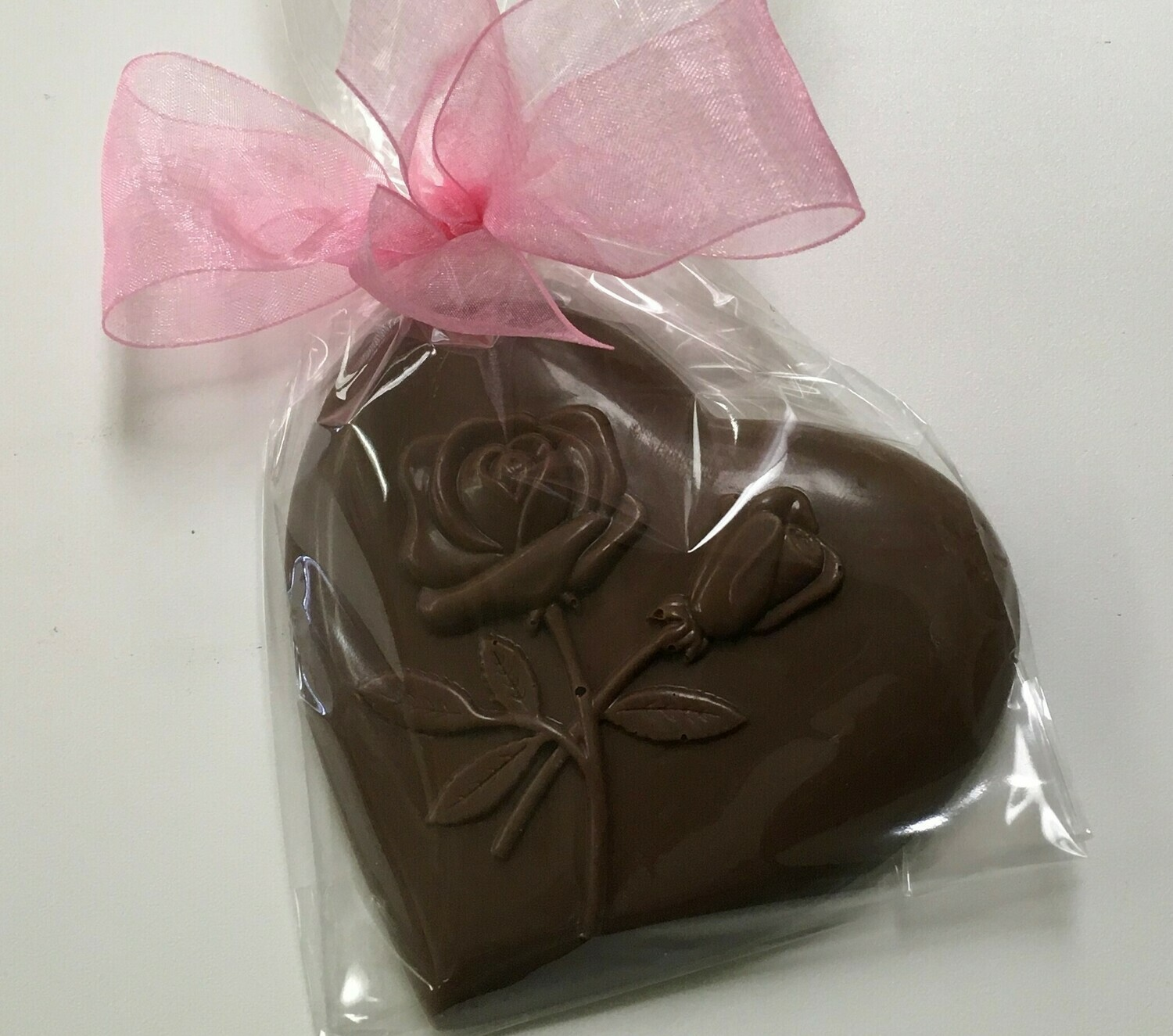Milk or Dark Chocolate Heart with Rose.  Choice of Ribbon Color.