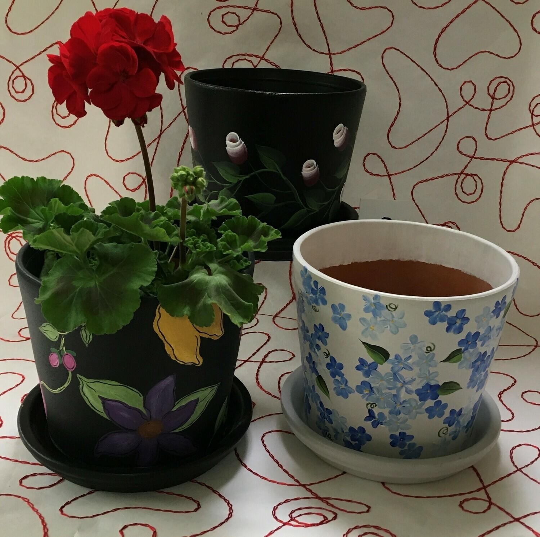 "Large Flower Pots. 6.5"" in diameter. 3 Designs."
