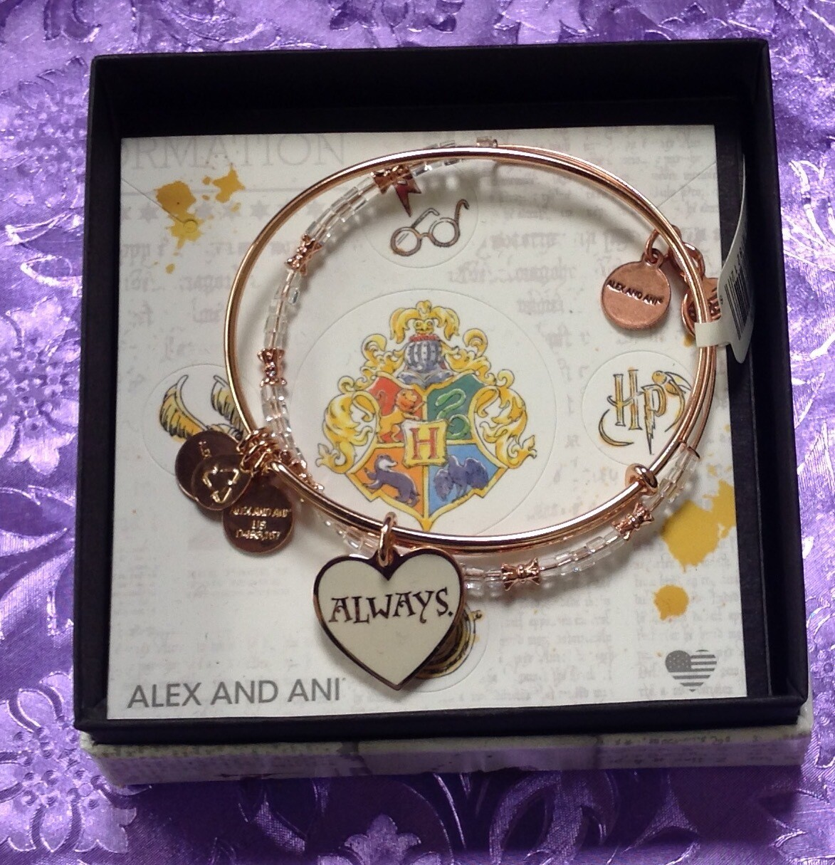 "Harry Potter ""Always"" Se of 2.  Alex and Ani Bangle Bracelet"