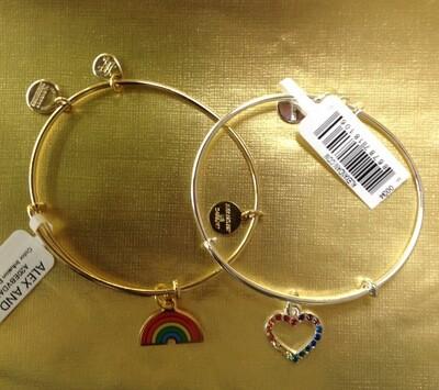 Color Infusion Rainbow or Heart Bangle Bracelet.