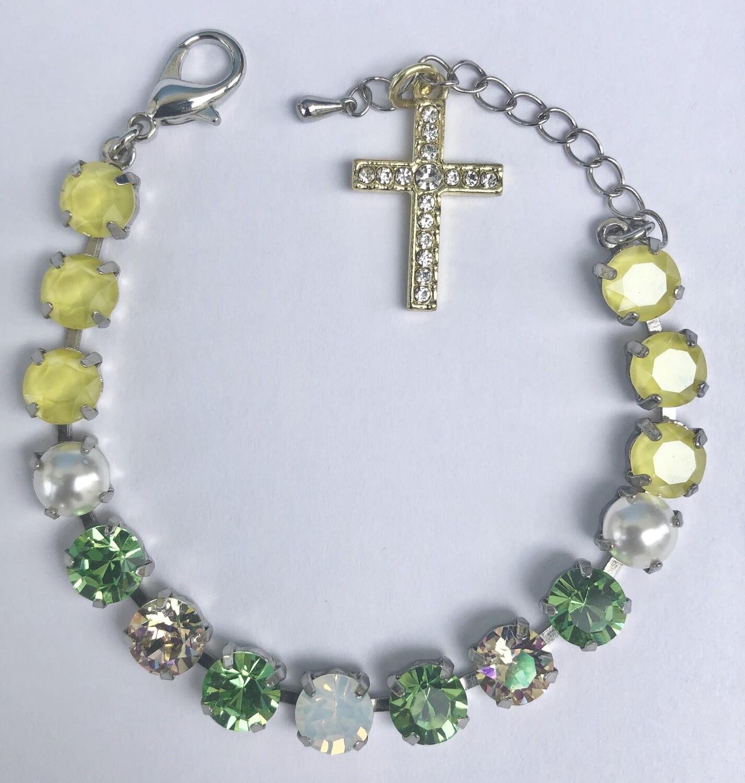 """Amazing Grace"" Bracelet.  Peridot, sunny yellow, opal and pearl cabochons."