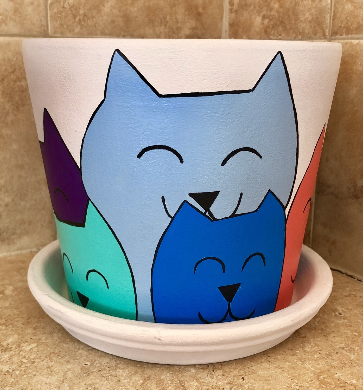 Handpainted by Raine.  Cat Flower Pot.  Adorable. Painted all the way around! Quantities Limited.
