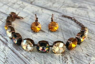 """""""Sunset On The Riviera"""" bracelet with matching earrings.  Setting is antique copper."""