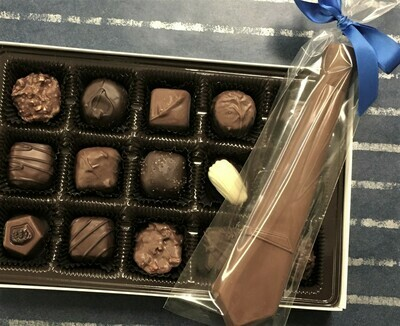 Now you can give dad a Tie that he will really enjoy!  A 15 piece Assortment of Chocolates plus a Milk or Dark Chocolate Tie.  Add the Tie to the 15 piece assortment or add to a 1 Lb. or a 2 Lb. Box.