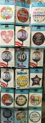 Helium Balloons Selection 2. More Helium Balloon Designs.  Happy Birthday Selection and Ages