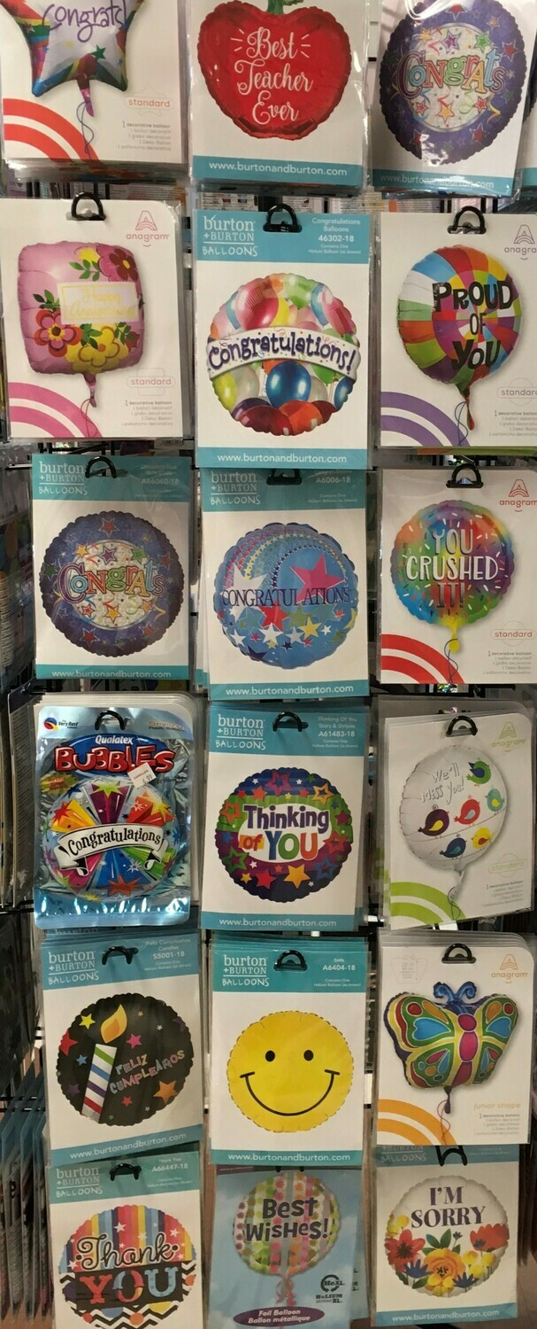 Helium Balloons Selection 3.  Teacher, Congratulations, Happy Anniversary, Proud of you, Thinking of you, We'll miss you, Feliz Cumpleanos, Smiley Face, Butterfly, Thank you, Best Wishes, I'm Sorry.