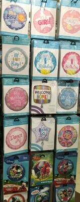 Helium Balloons Selection 4. Baby, 1st Birthday, Dance, Mickey and Minnie, Mulan, Trolls, aw Patrol, Thomas & Friends,