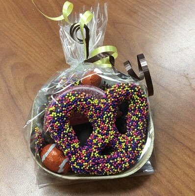 Small Chocolate Tray.  Gourmet Pretzel, Chocolates and Foiled Wrapped Chocolates.  Choose your Foils. Tag can be created for extra charge of 40 cents each.