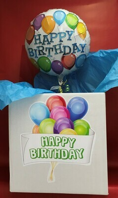 HB Balloon in a Box.  You can add goodies to this box that will be tied to the balloon.  When box is opened balloon pops out and goodies are revealed.  Wonderful Surprise!