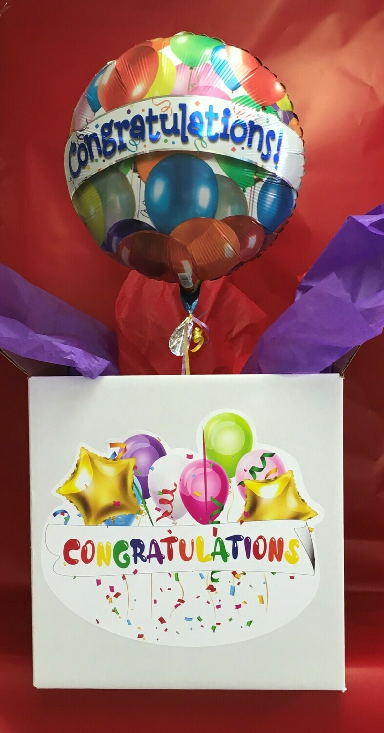 "Balloon in a Box.  Congratulations!  Add some Chocolates or ""Bring your own Gift""."
