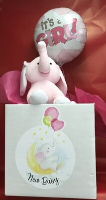 Balloon in a Box.  New Baby.  Plush Elephant is extra and is available in Pink or Blue.  Add some Chocolates and Candies to your box.
