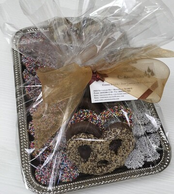 Any Occassion Tray.  Selection of Gourmet Pretzels and Milk and Dark Nonpariels.  Simply Delicious!
