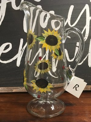 Sunflower Pitcher.  Hand Painted.  Approx. 12