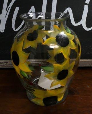7 1/2 x 5 1/2 Sunflower Vase.  Hand Painted.