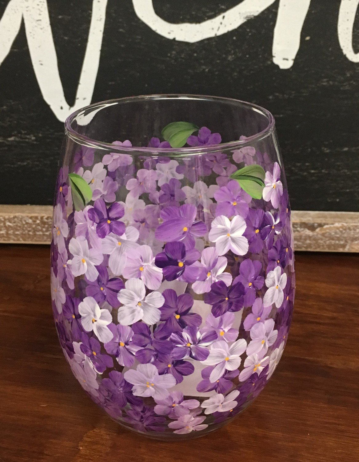 "Purple Hydrangea Stemless. 5"" tall, 21 oz.  Hand Painted"