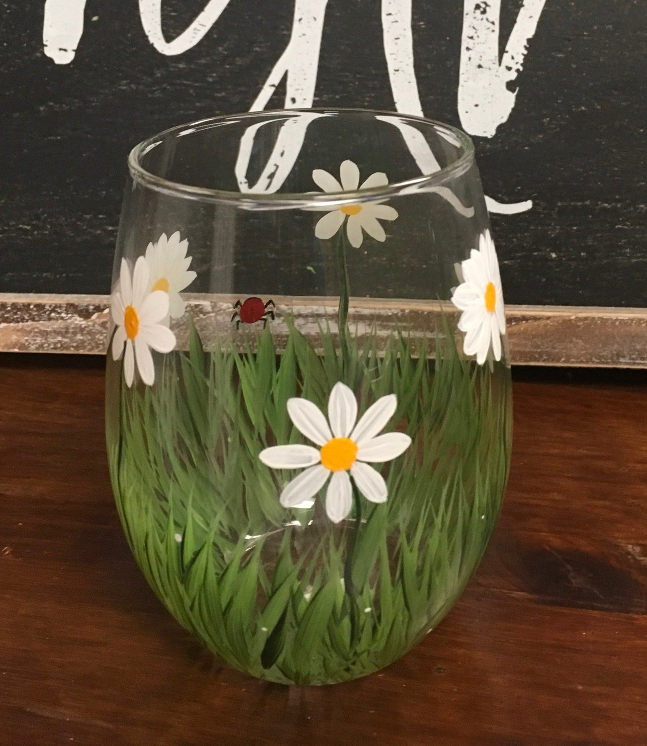 "Daisy Stemles Wine Glass. 5""tall, 21 oz. Hand Painted"