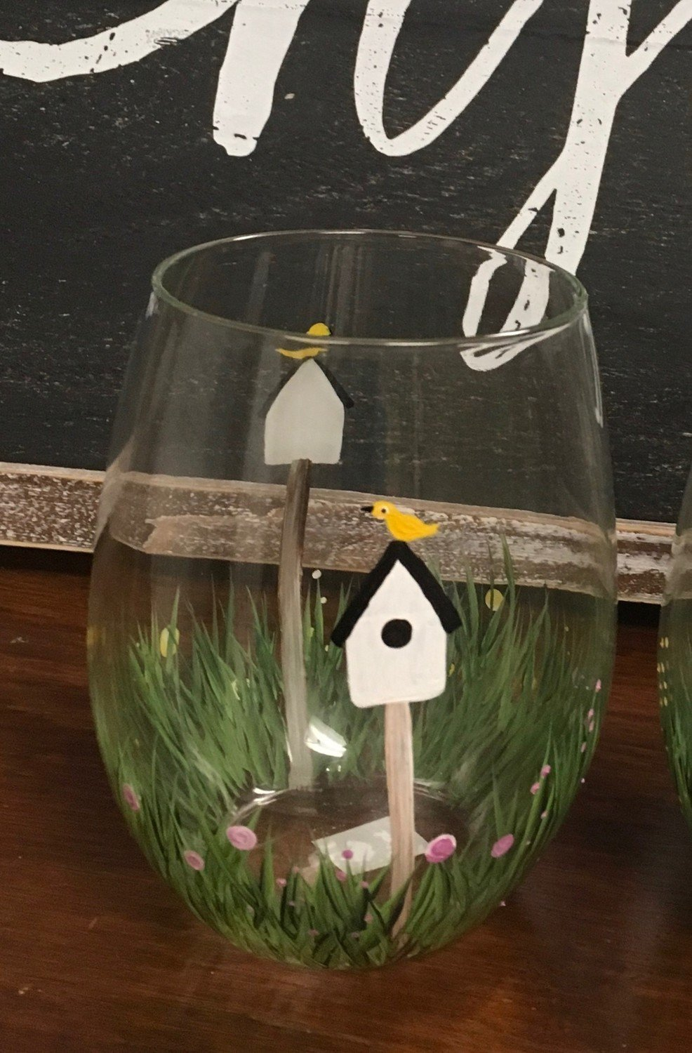 """Birdhouse Stemless Wine Glass. 5"""" tall, 21 oz.  Hand Painted"""