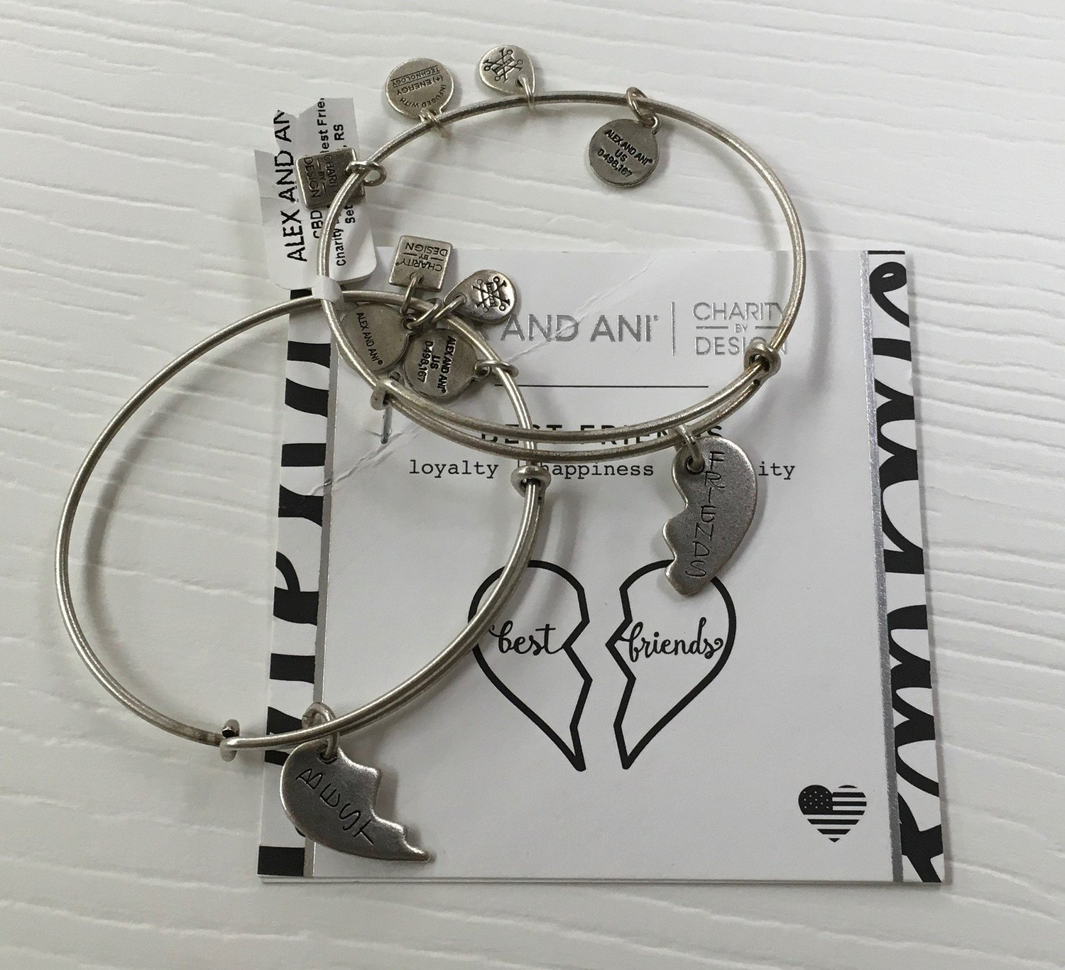 Best Friends Alex and Ani Bangle.  Set of two.