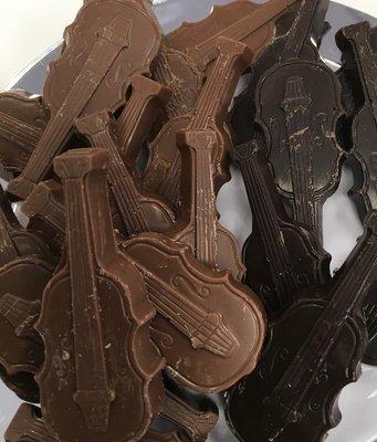 Solid Chocolate Violins.  3