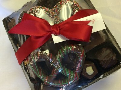 F - Combination Chocolates, Pretzels; Packaged and Bowed.  Great Gift!