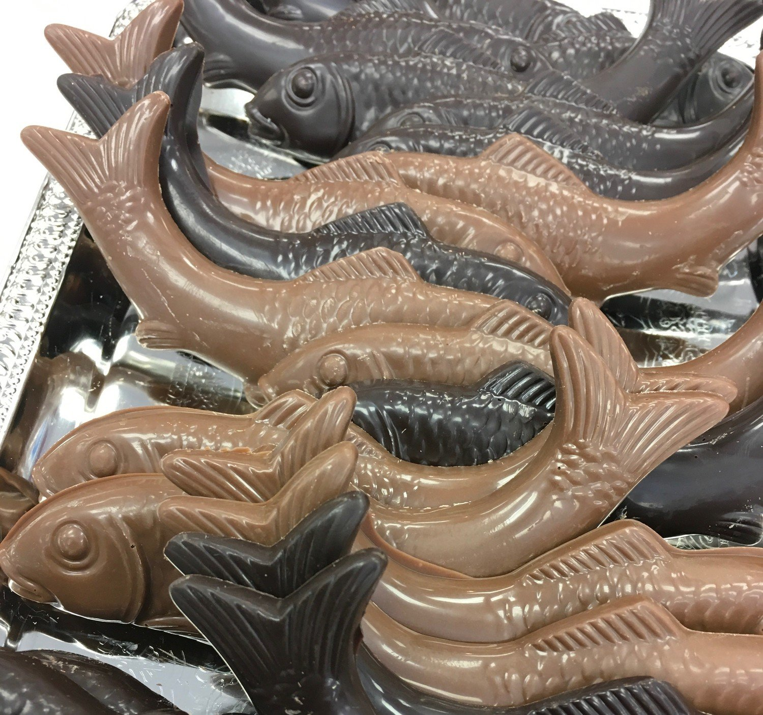 """F - Chocolate Fish. 5""""x1 1/2""""approx.  Peanut and Gluten Free.  16 to a Lb."""